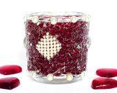 tealight holder dark red silver white gift for her home decor mosaic lantern gift idea home decor housewares OOAK