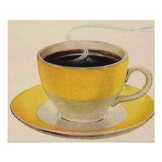 Used coffee grounds contain antioxidants and other compounds that are beneficial for the body. This article features a few simple but effective skincare and hair treatment recipes made with coffee grounds. Vintage Diner, Vintage Cups, Vintage Art, Coffee Wall Art, Yellow Cups, Coffee Facts, Discount Coffee, Uses For Coffee Grounds, Coffee Illustration