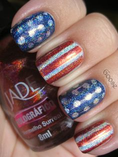 american flag nails - could do this with any country's flag
