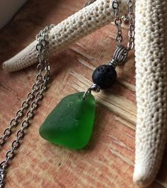 "Lava And Green Sea Glass Jewelry Necklace 18"" Stainless Beach Day Moana Hawaii  