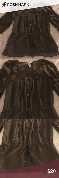 Olive green adorable j crew blouse Really pretty transparent olive green blouse J. Crew Tops Blouses