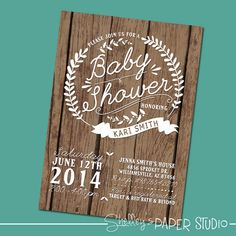 Woodland Baby Shower Invite by shelleyspaperstudio on Etsy, $15.00