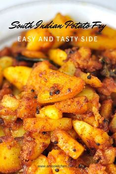 Spicy and crispy potato fry south indian style in 15 mins South Indian Style Homemade Potato Fry is a spicy and crispy side dish for rice varieties. It is easy and simple snack or side to make to in 15 minutes. Baby Potato Recipe Indian, Baby Potato Recipes, Veg Recipes, Curry Recipes, Indian Food Recipes, Asian Recipes, Cooking Recipes, Indian Potato Recipes, Aloo Recipes
