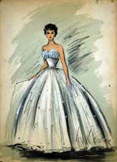 Croqui de vestido de debutante de Elizabeth Taylor