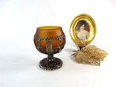 Antique Goblet  Vintage Cognac Glass  Ornate by VintageLittleGems