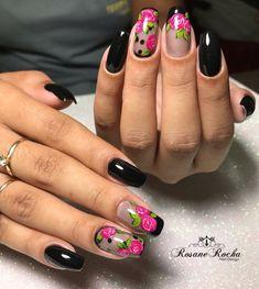 29 Modelos de unhas decoradas para trabalhar Rose Nails, Flower Nails, Pink Nails, Colorful Nail Designs, Nail Art Designs, Acrylic Nails, Gel Nails, Pink Nail Colors, Funky Nail Art