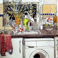 Awesome Art, Cool Art, Caroline Johnson, Kitchen Drawing, Old Bottles, Old Kitchen, Drawing Artist, Kitchen Themes, Sketch