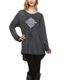 Another great find on #zulily! Charcoal Embellished Hi-Low Tunic - Plus #zulilyfinds