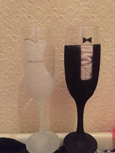 Mr and Mrs glitter glasses, DIY crafts