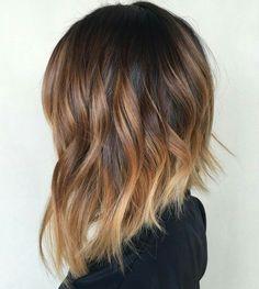 Balayage dark to blond lob