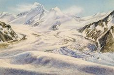 Aletsch glacier during the Ice age, Switzerland, drawing.