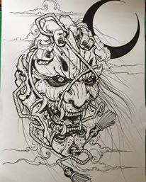 Sketches for tattoo Another collection of different sketches for future tattoos, for your tattoo master. In this collection you will find both masks of different fantastic creatures and just beautiful sketches Oni Tattoo, Raijin Tattoo, Hanya Tattoo, Irezumi Tattoos, Tattoo Sketches, Tattoo Drawings, Sketch Tattoo Design, Sketch Art, Mascara Oni