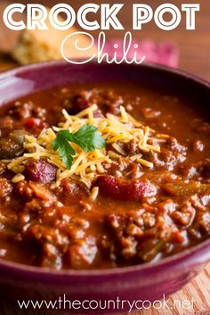 Crock Pot Chili recipe and Sweet Cornbread recipe from The Country Cook
