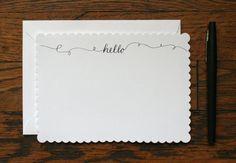 Hello Stationery - set of 15 cards + envelopes - 5''x7''