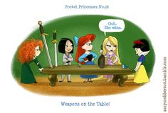 Pocket Princesses by Amy Mebberson  # 28- Merida, Mulan, Ariel, Rapunzel, and Snow White