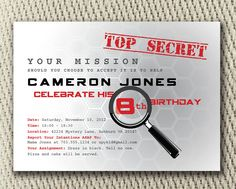 Secret Agent Spy Birthday Digital Party Invite: Red/Black or Pink/Black Color Combo Spy Birthday Parties, Birthday Party Planner, Spy Party, Birthday Dates, Birthday Fun, Birthday Party Invitations, Party Gifts, Party Time, Birthday Ideas