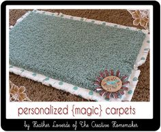 Personalized rug for toddlers during FHE, Prayer, General Conference.