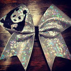 panda cheer bow by bragaboutitcheerbows. Explore more products on http://bragaboutitcheerbows.etsy.com