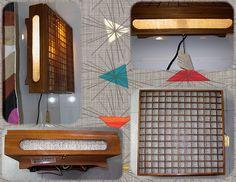¡Vendida! Lámpara teka y tela. Teak and fabric lamp. Panton VTG 50s 60s Mid-Century Eames