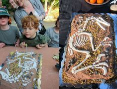Velociraptor fossil cake. Bones made by hand from fondant