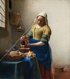 The Milkmaid by Johannes Vermeer is a stunning demonstration of realism, color, and composition. I take a closer look at the painting in this post. Oil Painting For Beginners, Oil Painting Techniques, Art Techniques, Vermeer Paintings, Love Painting, Painting & Drawing, Watercolor Paintings, Split Complementary Colors, Portraits
