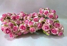 100 Rose Flower Pink &White Color Mulberry Paper Craft DIY Wedding Souvenir Card #Unbranded