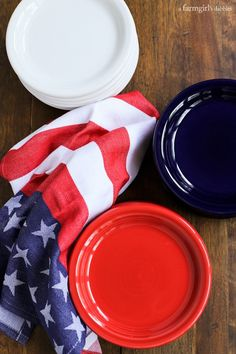 Fiesta® Dinnerware appetizer plates in red, white, and blue from afarmgirlsdabbles.com