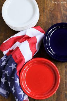 Fiesta® Dinnerware appetizer plates in red, white, and blue (Scarlet, White & Cobalt) | afarmgirlsdabbles.com