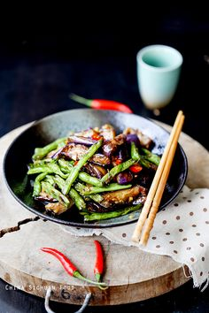 Eggplants with green beans - vegetarian- Sichuan Food