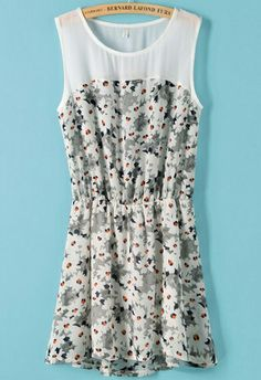Grey Sleeveless Contrast Chiffon Floral Pleated Dress US$19.25