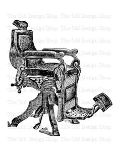 Antique Barber Chair Vintage Printable Clip by TheOldDesignShop