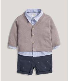 Cardigan, Shirt & Shorts Set