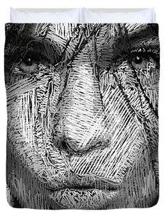 Studio Portrait In Pencil 36 Duvet Cover by Rafael Salazar