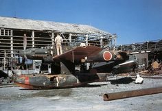 Checking out a wrecked Japanese float plane.