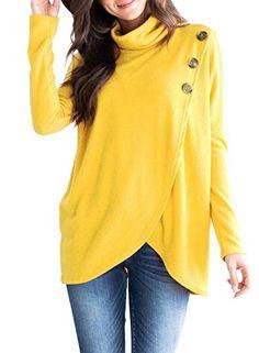 94edae78e4 Asvivid Womens Long Sleeve Button Cowl Neck T-Shirt Asymm... https