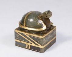 Jade & Gold Foil Turtle Form Chinese Seal