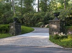 see partial brick entrance driveway. tTraditional Driveway Landscaping Design, Pictures, Remodel, Decor and Ideas Driveway Entrance Landscaping, Brick Driveway, Driveway Design, Driveway Gate, Garden Landscaping, Landscaping Ideas, Driveway Apron, Fence, Driveway Repair