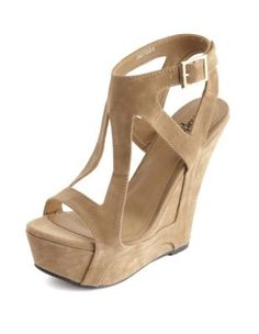 Geo Caged Sueded Wedge Sandal