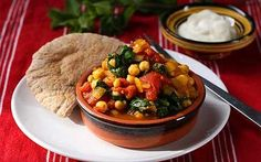 moroccan chickpea, tomato and spinach stew