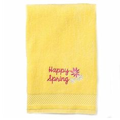Happy Spring Embroidered Dolby Border Hand Towel - Sunshine Yellow Blossoms & Blooms http://www.amazon.com/dp/B00VL09DJC/ref=cm_sw_r_pi_dp_Iibuvb1NW7YS2