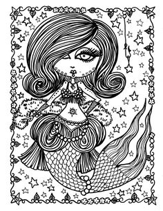 5 Pages Burlesque Mermaids To Color Digital Coloring For Adults Fun Instant Download Mermaid Fantasy Art