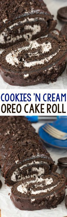 Cookies 'n Cream Oreo Cake Roll - an easy chocolate cake roll recipe filled with Oreo whipped cream! Everyone loves this cake, especially with the chocolate ganache on top!