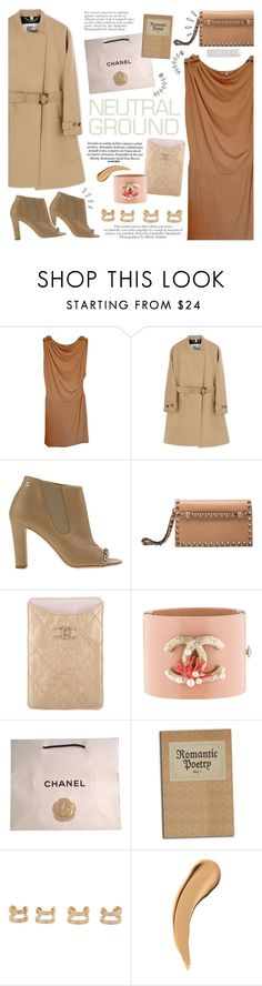"""""""Back to Basic"""" by igedesubawa ❤ liked on Polyvore featuring Maje, Burberry, Chanel, Valentino, Maison Margiela, DANNIJO, Old Navy, contest, neutrals and contestentry"""