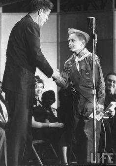 President Kennedy receiving Boy Scout greeting - December, 1962 (photo courtesy John Loengard,