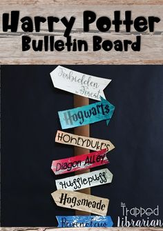 Are you looking for Harry Potter decorations for your elementary library or classroom theme? Grab this low-prep display! Harry Potter inspired bulletin board, directional signs, storytime, activities, and ideas! Click to look at the preview! #thetrappedlibrarian #harrypotter Elementary School Library, Elementary Schools, Reading Motivation, Harry Potter Classroom, Welcome To Hogwarts, Library Organization, Library Skills, School Librarian, Directional Signs
