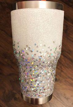 Diy Tumblers, Custom Tumblers, Glitter Tumblers, Acrylic Tumblers, Cup Crafts, Arts And Crafts, Glitter Crafts, Glitter Projects, Glitter Cups