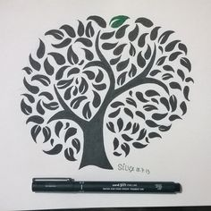 The Tree of the Knowledge of Good and Evil. By me! شجرة معرفة الخير والشر #doodling #ink #good #evil #knowledge #green #Adam #Eve #tree