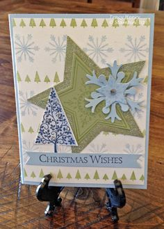 CHRISTMAS Tree stars & Snowflakes blue green card handmade Stampin Up