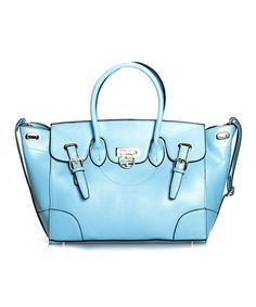 Look at this #zulilyfind! Baby Blue Laurrette Leather Tote by Segolene En Cuir #zulilyfinds