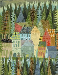 Un village endormi en Norvège. 11 x 14 limited edition par matteart